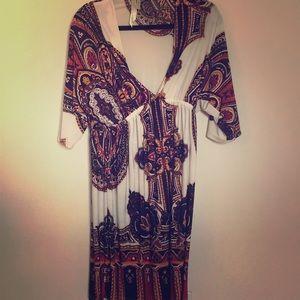 Intricate Design Dress with v neck shape